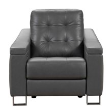 Parker Tufted Leather Power Recliner in Storm Grey