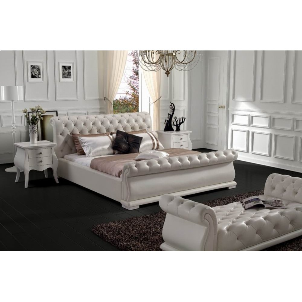 Modrest Modern White Tufted Leatherette Bed
