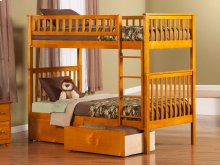 Woodland Bunk Bed Twin over Twin with Urban Bed Drawers in Caramel Latte