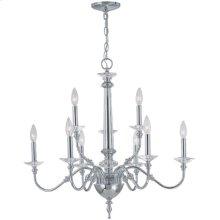 3/6-lite Chandelier Lamp, Chrome/crystal, E12 Type B 60wx9