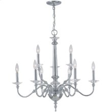3/6-lite Chandelier Lamp, Chrome/crystal, E12 Type B 60wx9