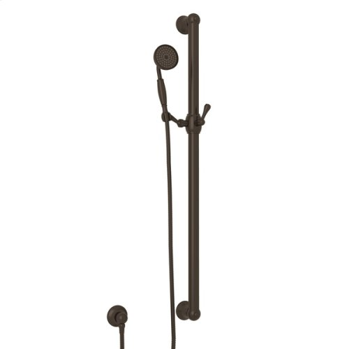 "Tuscan Brass 36"" Decorative Grab Bar Set With Single-Function Anti-Cal Handshower/Hose/Outlet"