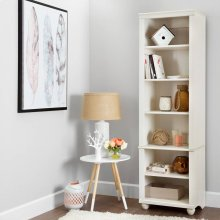 Narrow 6-Shelf Bookcase - White Wash