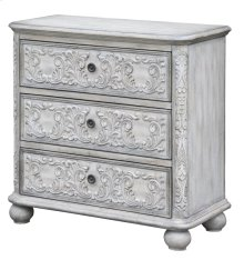 Annabelle 3 Drawer French Scroll Overlay Antique White