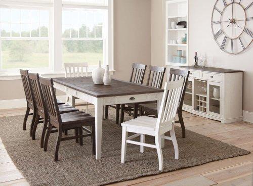 Cayla Dark Oak & White 5-pc Dining Set -  *shown as 9-pc set