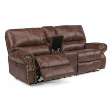 Carlton Fabric Power Reclining Loveseat with Console