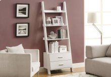 """BOOKCASE - 69""""H / WHITE LADDER WITH 2 STORAGE DRAWERS"""