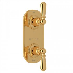 """English Gold Perrin & Rowe Edwardian 1/2"""" Thermostatic/Diverter Control Trim with Edwardian Metal Lever"""