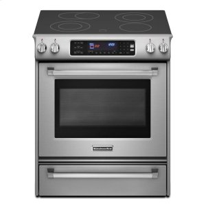KitchenAid30-Inch 4-Element Electric Slide-In Range, Pro Line® Series - Stainless Steel