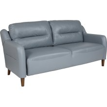 Newton Hill Upholstered Bustle Back Sofa in Gray Leather
