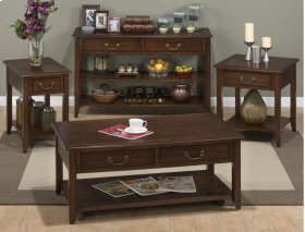 Castered Cocktail Table With 2 Pull-thru Drawers, Shelf and Bale Hardware
