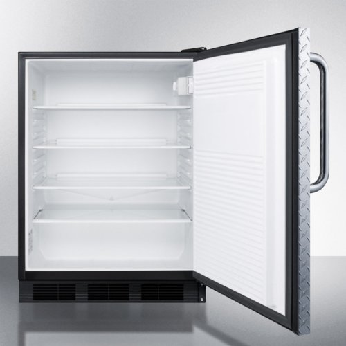 ADA Compliant All-refrigerator for Freestanding General Purpose Use, Auto Defrost W/diamond Plate Wrapped Door, Towel Bar Handle, and Black Cabinet