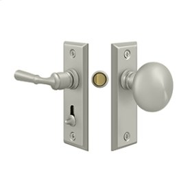 Storm Door Latch, Rectangular, Tubular Lock - Brushed Nickel