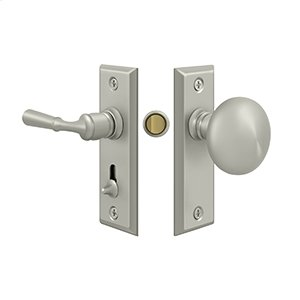 Storm Door Latch, Rectangular, Tubular Lock - Brushed Nickel