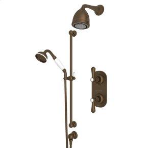 English Bronze Perrin & Rowe Georgian Era Thermostatic Shower Package with Georgian Era Metal Lever With Porcelain Cap