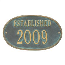 Established Date Personalized Plaque - Bronze Verdigris
