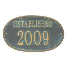 Established Date Personalized Plaque - Bronze Verdigris