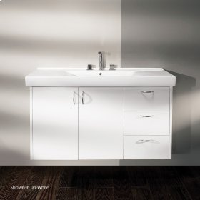"Wall-mounted vanity with two doors on the left with pull-out bottom and 3 drawers on the right, 45 3/8""W, 17""D, 24""H."