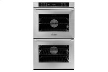 """30"""" Heritage Double Wall Oven, Silver Stainless Steel, Epicure Style handle with chrome end caps"""