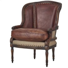 French Wing Chair w/ Leather