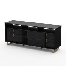 "TV Stand with Storage - Fits TVs Up To 60"" - Black Oak"