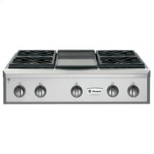 """GE Monogram® 36"""" Professional Gas Rangetop with 4 Burners and Griddle (Liquid Propane)"""