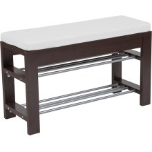 Bay Ridge Espresso Wood Finish Storage Bench with Cushion
