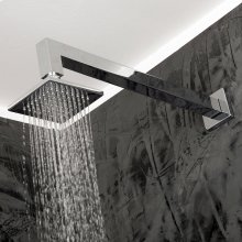 "Wall-mount tilting square rain shower head, 64 rubber nozzles. Arm and flange sold separately, 4""W, 4""D, 1 3/4""H"