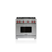 "36"" Gas Range - 4 Burners and Infrared Charbroiler"