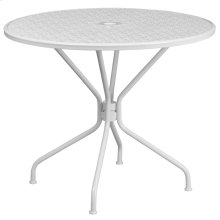 35.25'' Round White Indoor-Outdoor Steel Patio Table