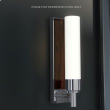 "Decorative Glass 3-1/8"" X 11-5/8"" X 3-13/16"" Sconce In Chrome With Smooth-leaved Elm Glass Insert"