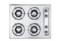 "24"" wide cooktop in brushed chrome, with four burners and pilot light ignition"
