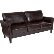 Bari Upholstered Living Room Sofa in Brown Leather