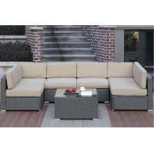 Outdoor 7 Piece Patio Modular Sectional Set