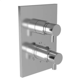 """Gloss Black 1/2"""" Square Thermostatic Trim Plate with Handle"""