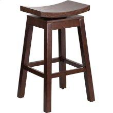 30'' High Saddle Seat Cappuccino Wood Barstool with Auto Swivel Seat Return