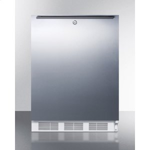 SummitADA Compliant Built-in Undercounter All-refrigerator for General Purpose Use, Auto Defrost W/lock, Ss Wrapped Door, Horizontal Handle, and White Cabinet