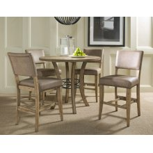 Charleston 5pc Counter Height Round Wood Dining Set With Parson Stools