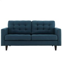 Empress Upholstered Fabric Loveseat in Azure