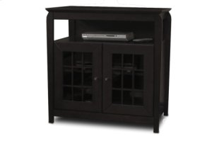 """32"""" Wide Hi Boy Credenza, Solid Wood and Veneer In A Black Finish, Accommodates Most 37"""" and Smaller Flat Panels"""
