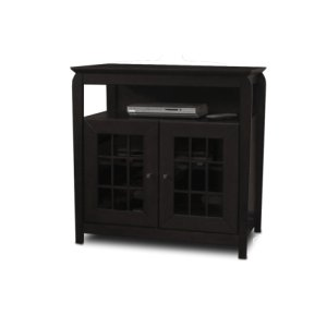 "Techcraft32"" Wide Hi Boy Credenza, Solid Wood and Veneer In A Black Finish, Accommodates Most 37"" and Smaller Flat Panels"