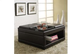 Cocktail Ottoman with Flip Trays on Casters