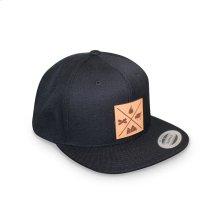 GMG Black Snapback Hat w/ Leather Patch