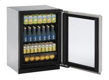 "24"" Glass Door Refrigerator Stainless Frame (Lock) Left-Hand Hinge"