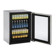 "24"" Glass Door Refrigerator Stainless Frame Left-Hand Hinge"