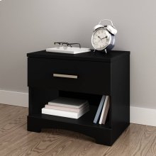 1-Drawer Nightstand - End Table with Storage - Pure Black
