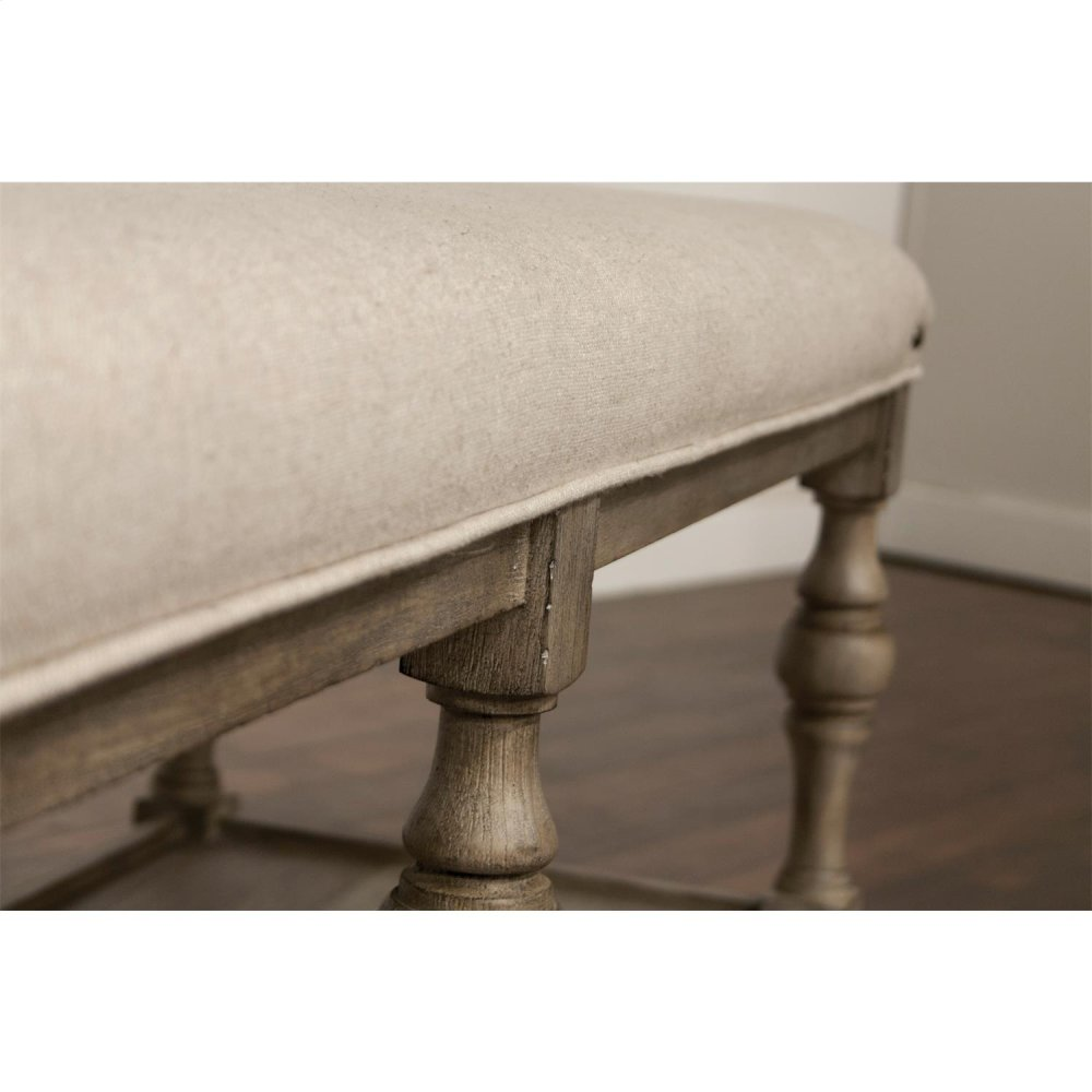 Juniper   54 Inch Upholstered Dining Bench   Natural Finish