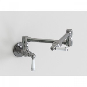 """Brushed Stainless - 17 3/4"""" Wall Mount Pot Filler with White Ceramic Lever Product Image"""