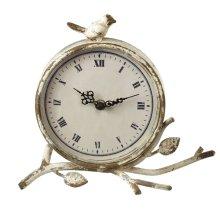 Distressed Ivory Desk Clock with Bird
