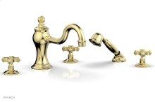 MARVELLE Deck Tub Set with Hand Shower - Cross Handles 162-48 - Polished Brass